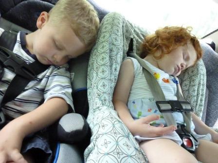 j g asleep in car
