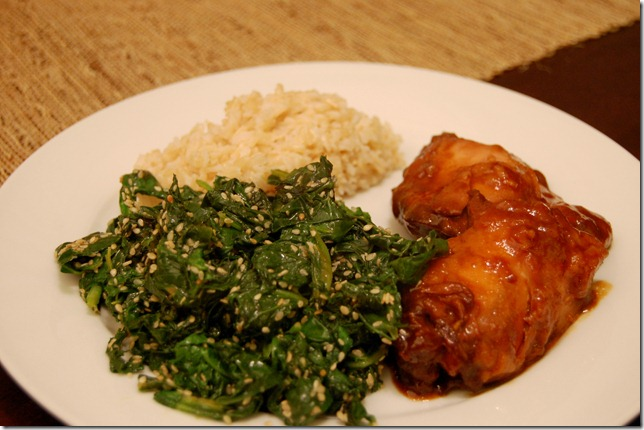 orange chix sesame kale
